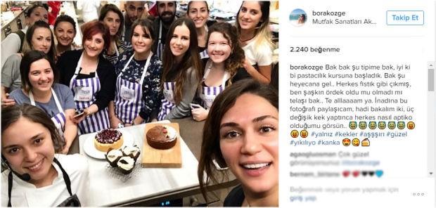 Ünlü oyuncu Özge Borak, pastacılık öğrenmek için kursa başladı ve sosyal medya hesabından da bunu paylaştı