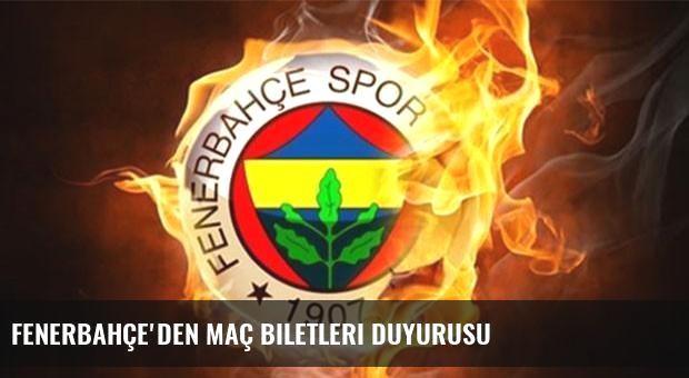 Fenerbahçe'den maç biletleri duyurusu