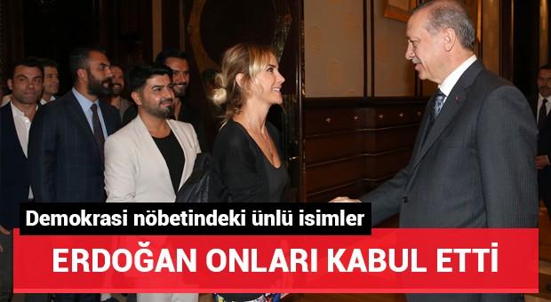 Cumhurbaşkanı Erdoğan, demokrasi nöbetine destek veren ünlüleri kabul etti