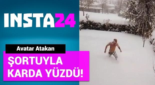 Avatar Atakan şortuyla karda yüzdü!