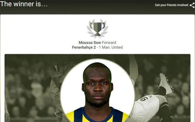 Manchester United'a muhteşem bir gol atan Fenerbahçenin yıldızı Moussa Sow, UEFA Avrupa Ligi'nde haftanın oyuncusu  seçildi