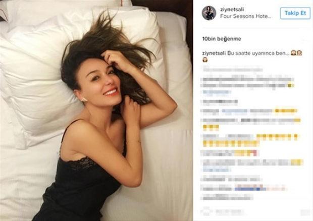 Milan'a giden şarkıcı Ziynet Sali, kaldığı otelin yatağından bir fotoğraf paylaştı.  Ziynet Sali, gecelikli çekilen fotoğrafını Instagram hesabından