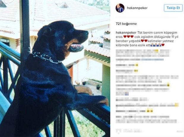 90'lı yılların sevilen şarkıcılarından Hakan Peker, sosyal medya hesabı üzerinden 11 yıl birlikte yaşadığı köpeğinin fotoğrafını paylaştı
