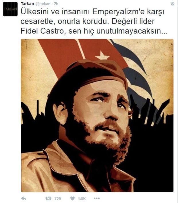 Tarkan Fidel Castro mesajı