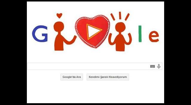 Google'dan sevgililer günü için doodle