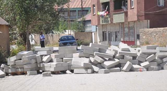 PKK'lılar yolları  kapattı