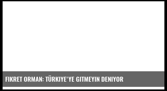 Fikret Orman: Türkiye'ye gitmeyin deniyor