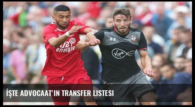 İşte Advocaat'ın transfer listesi