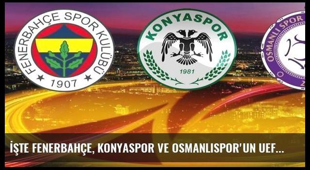 İşte Fenerbahçe, Konyaspor ve Osmanlıspor'un UEFA Avrupa Ligi'ndeki rakipleri