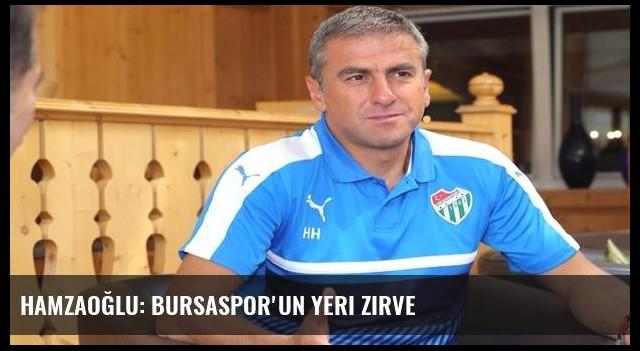 Hamzaoğlu: Bursaspor'un yeri zirve