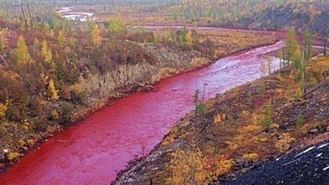 Rusya'da nehir kırmızıya döndü, görenler şok oldu!