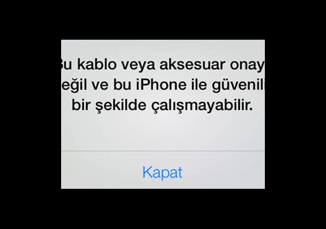 iOS 7 Yan Sanayi Lightning Bağlantısına Uyarı Veriyor
