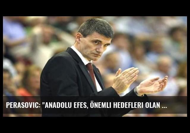Perasovic: 'Anadolu Efes, önemli hedefleri olan bir kulüp'