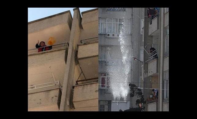 Protestocuların kafasına bir kova su boşalttı!