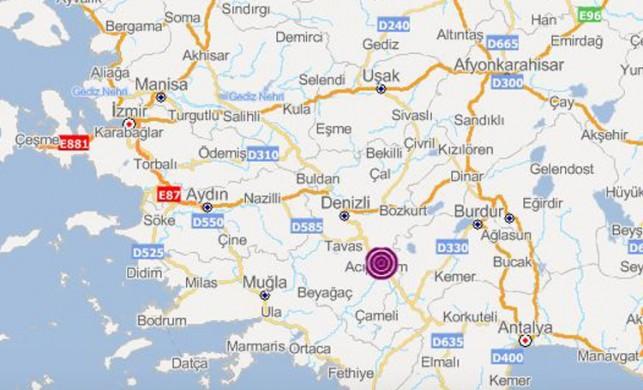 Denizli'de 4.3 büyüklüğünde deprem