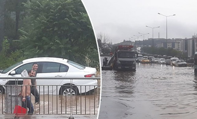 Meteoroloji uyarmıştı! Araçlar mahsur kaldı