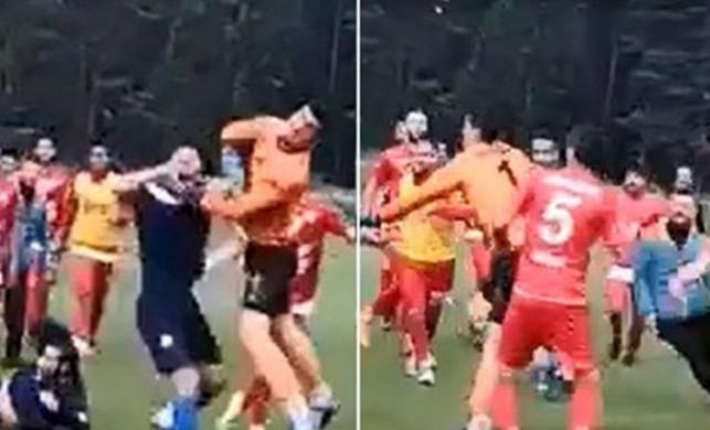 Futbol sahasında meydan savaşı! Birbirlerine girdiler
