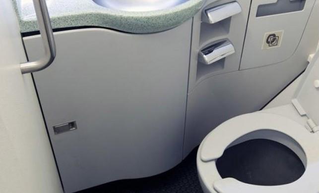 Uçak tuvaletinde mide bulandıran olay! Hostes fark edince ifşa oldular