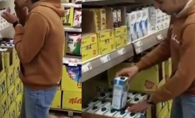 Marketteki sütleri içip görüntülerini paylaşan çocuk 15 gün evden çıkamayacak