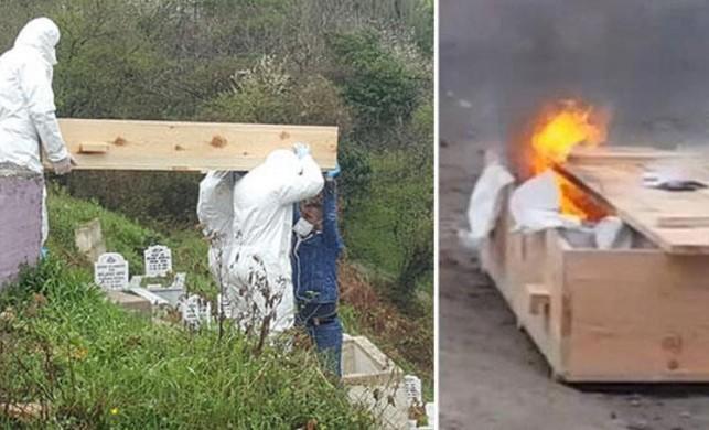 Zonguldak'ta hayatını kaybeden 71 yaşındaki adamın tabutu cenaze sonrası ateşe verildi