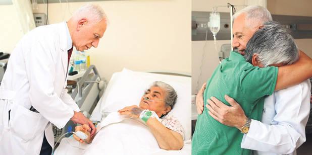 Prof. Dr. Mehmet Haberal, kurucusu olduğu hastanede, aralarında arkadaşlarının da bulunduğu hastaları tek tek ziyaret etti. Bazı hastalar gözyaşlarını tutamayarak Haberal'a sarıldı.