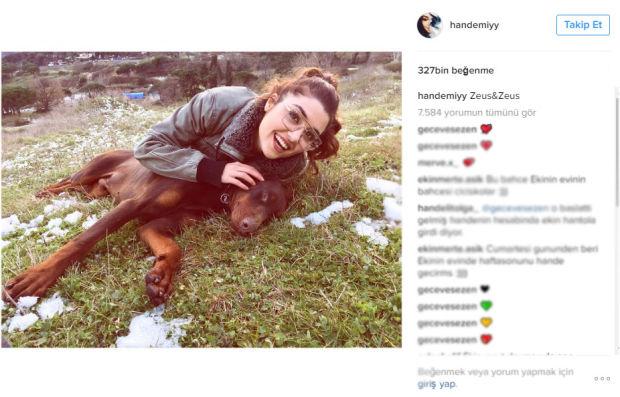 hande erçel köpeği ile çekilen pozunu Instagram sayfasında paylaştı