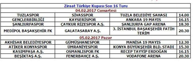 Türkiye Futbol Federasyonu 16 turu maç programını açıkladı. Buna göre Beşiktaş ile Fenerbahçe Vodafone Arena'da 5 Şubat Pazar günü saat 20.30'da karşı karşıya gelecek.