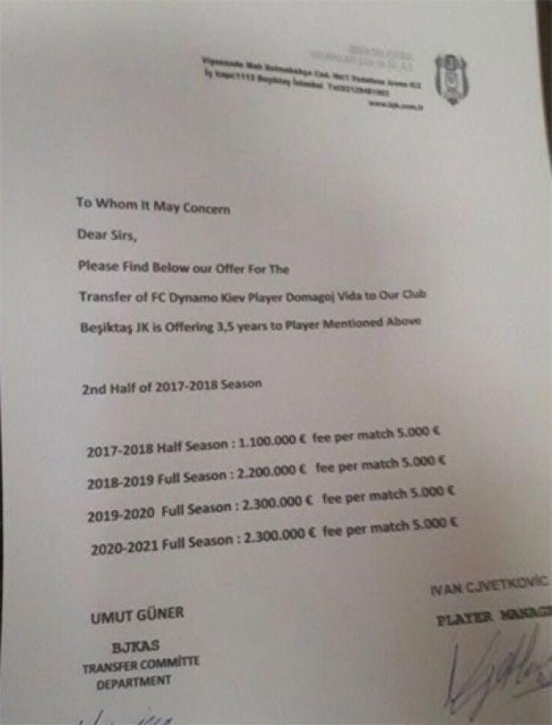 Beşiktaşlı yönetivi Umut Güner ime Vida'nın menajeri Ivan Cjvetkovic'in imzalarının yer aldığı 3.5 senelik protokolde Hırvat stoperin alacağı rakamlar da görülüyor.