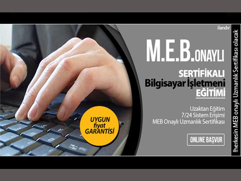 MEB onaylı bilgisayar işletmenliği sertifikası