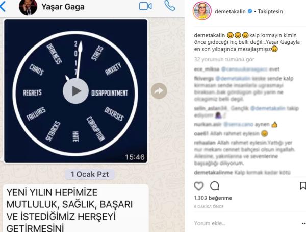 Sanatçı dostlarından Yaşar Gaga mesajları...