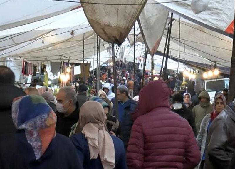 Evde kalmadılar! Vatandaşlar Güngören'deki semt pazarına akın etti