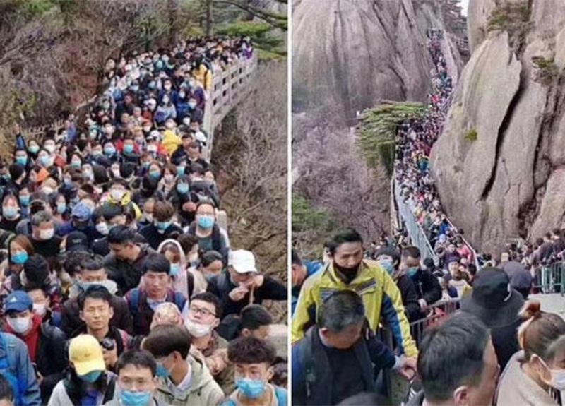 Koronavirüs yasaklarının hafifletildiği Çin'de halk parklara hücum etti!