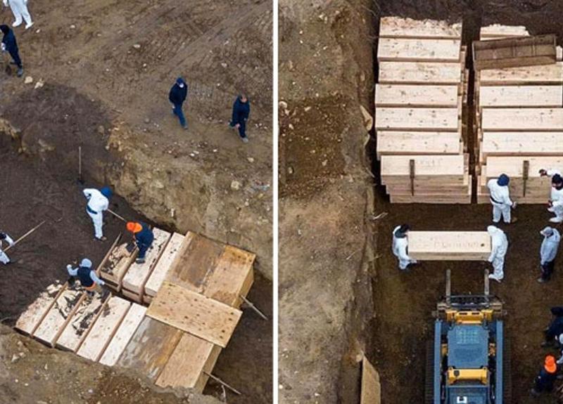 ABD'de koronavirüsten ölenler toplu mezarlara gömülüyor
