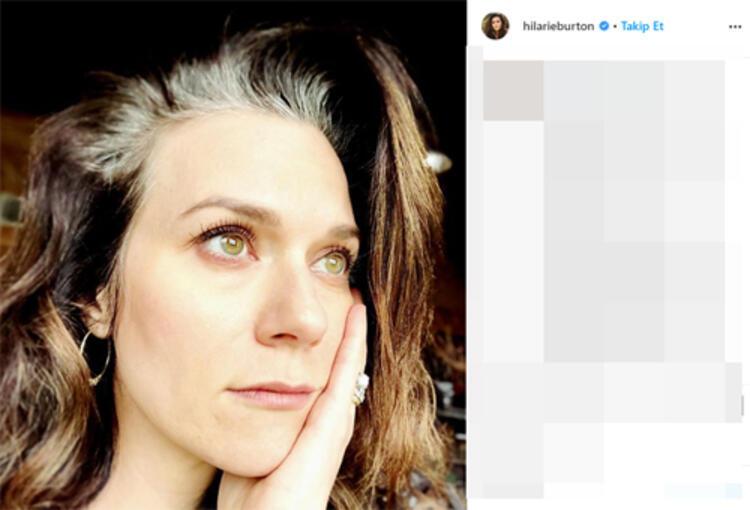 Ünlü dizi oyuncusu Hilarie Burton karantinada beyazlayan saçlarıyla poz verdi!