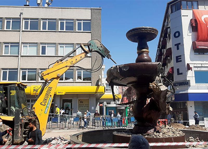 Edirne'deki Sevda Çeşmesi heykeli yıkıldı!