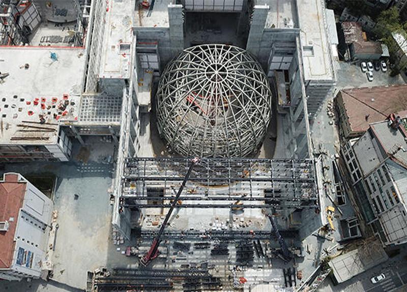 Atatürk Kültür Merkezi inşaatı tedbirlere uyularak sürdürülüyor!