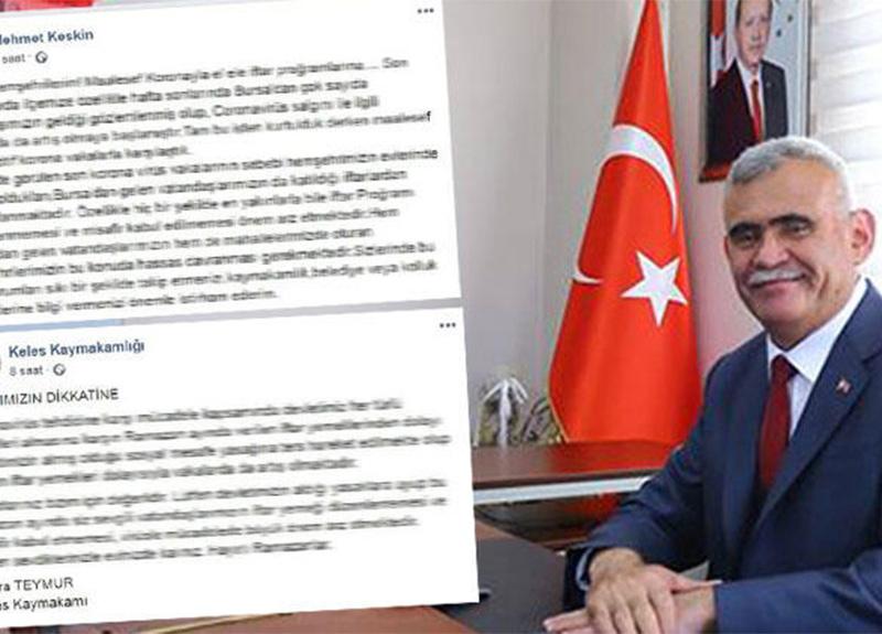 Bursa'nın Keles Belediye Başkanı Mehmet Keskin: 'Verilen iftarlar nedeniyle vaka sayımız arttı'