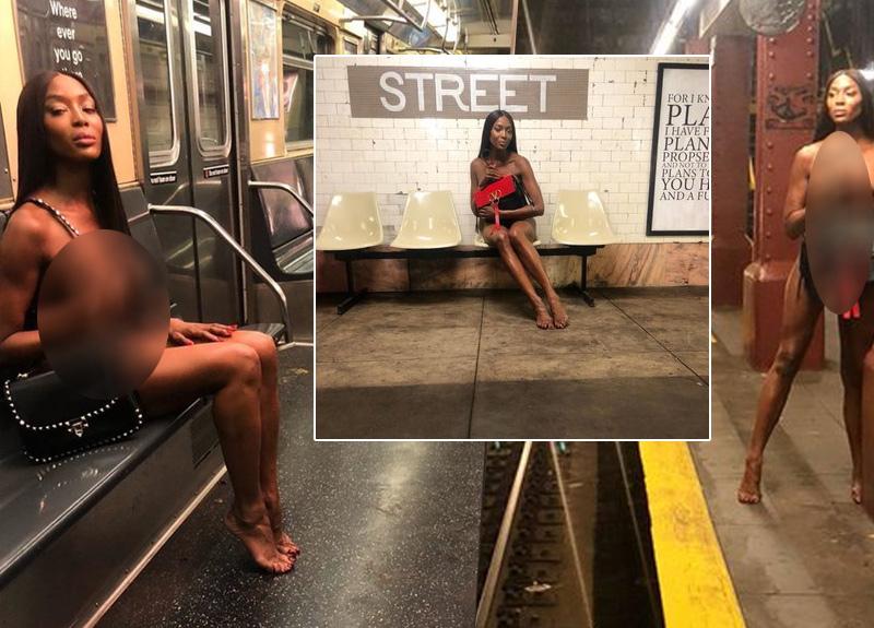 50 yaşındaki Naomi Campbell'ın metrodaki çıplak pozları sosyal medyayı salladı