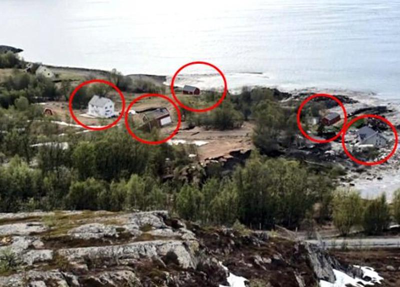 Norveç'te şoke eden anlar! Toprak kayması sonucu evler toprağa gömüldü