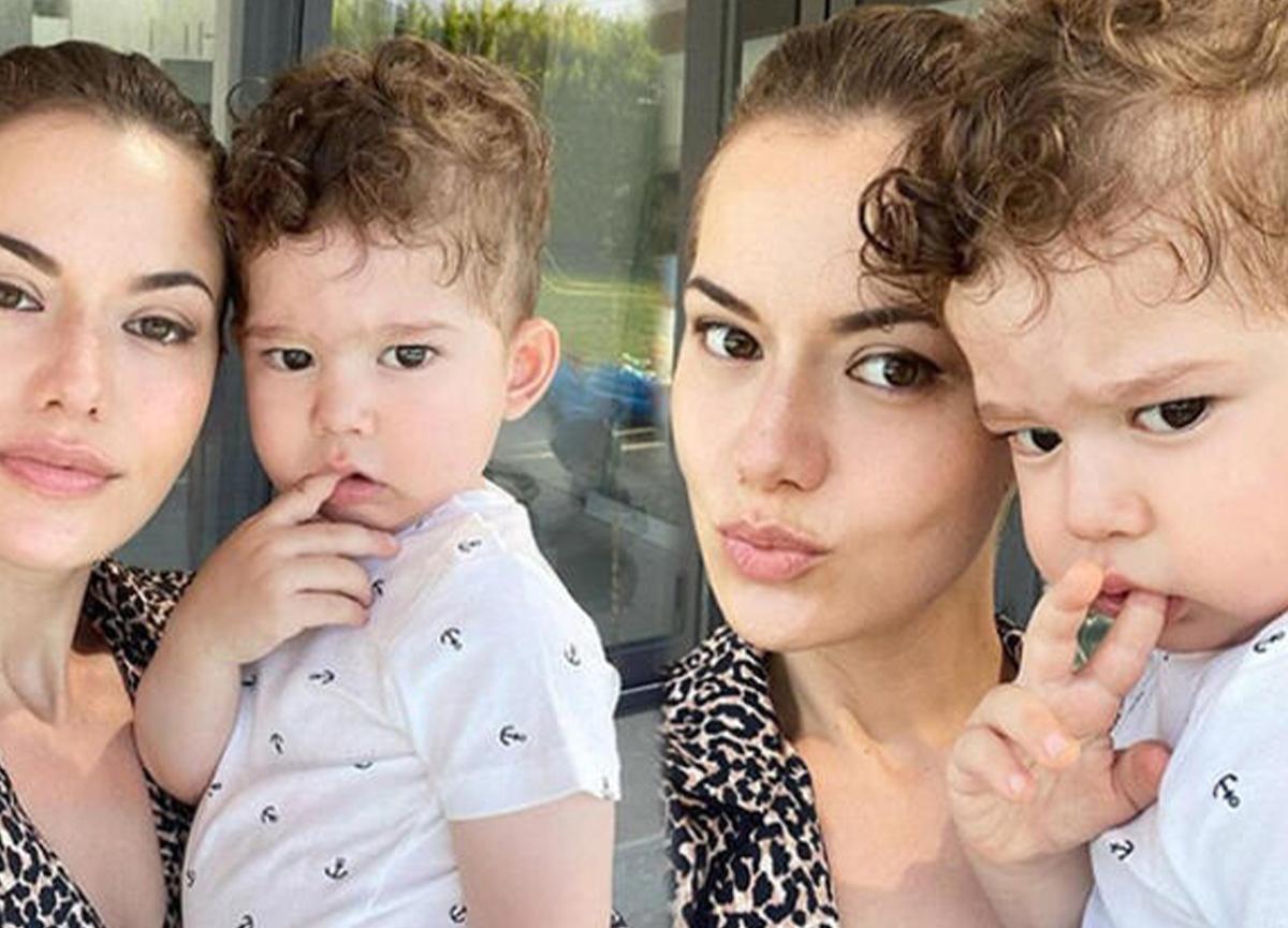 Fahriye Evcen oğluyla fotoğrafını paylaştı! 'Babası gibi keskin bakışlı'
