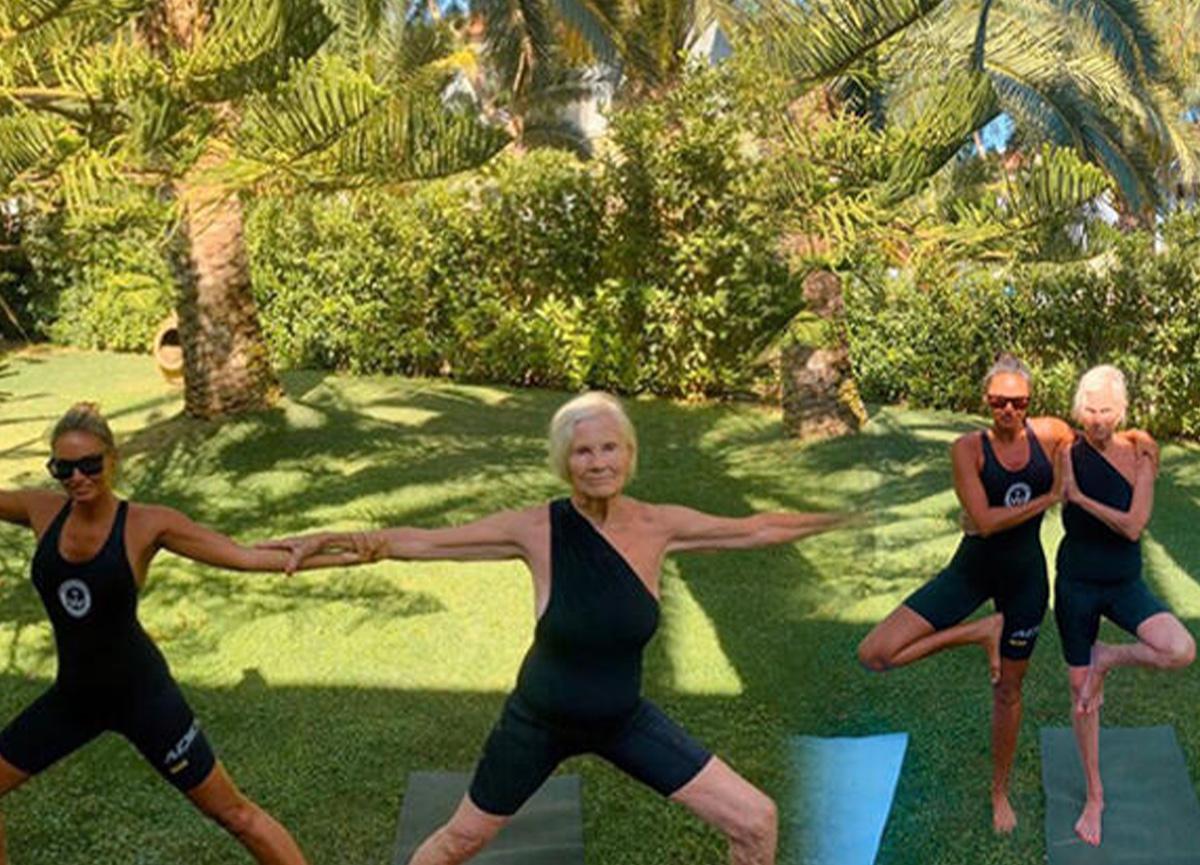 Eda Taşpınar, 90 yaşındaki anneannesiyle yoga yaptı!