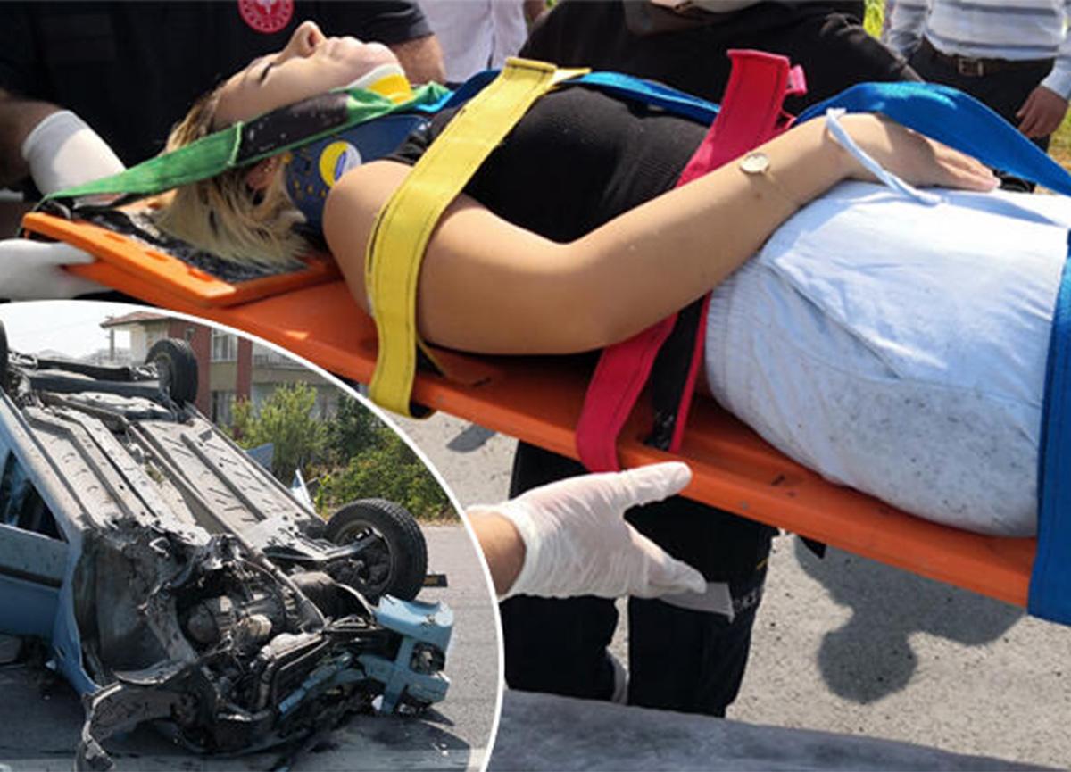 Aksaray'da kaza! Kaplumbağayı ezmemek için takla attı!