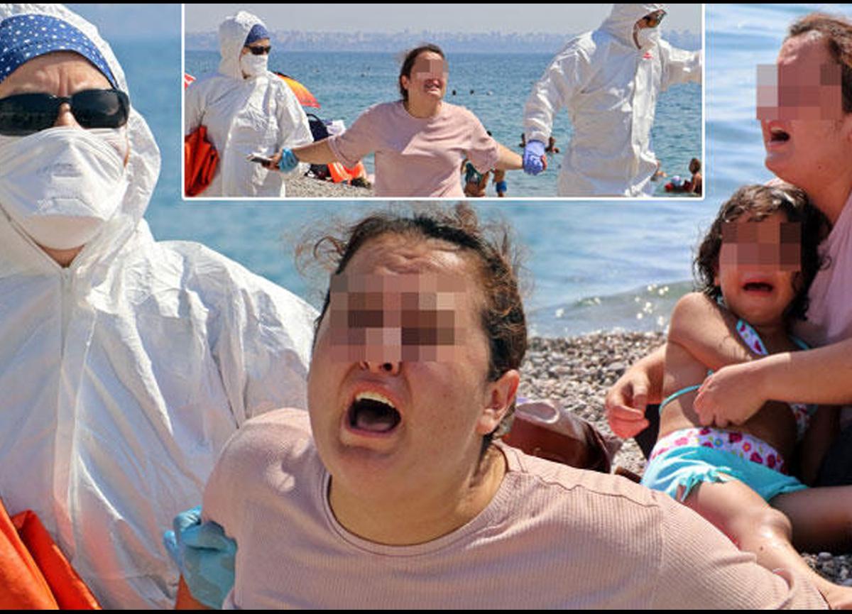 Antalya Konyaaltı sahilinde akılalmaz olay... 'Hastayım, ölmek istemiyorum' diyerek etrafa tükürmeye başladı
