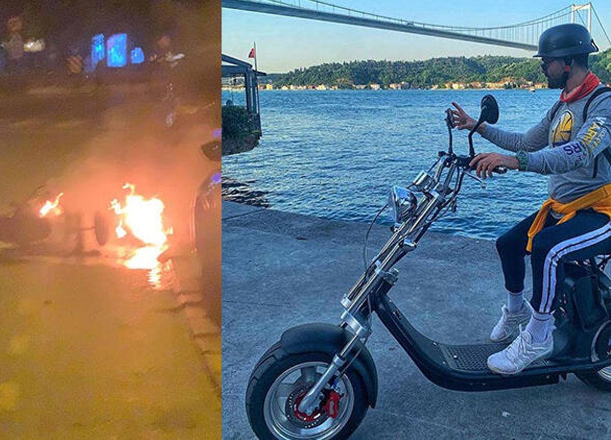 Elektrikli bisikleti bomba gibi patlayan fitness antrenörü faciadan son anda kurtuldu