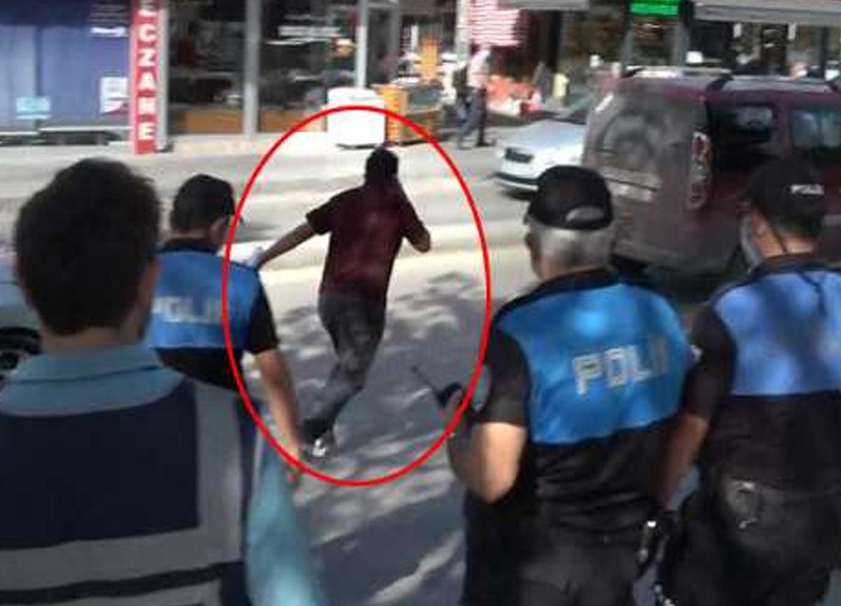 Çorum'da maske takmayan kişi polisleri görünce koşarak kaçtı
