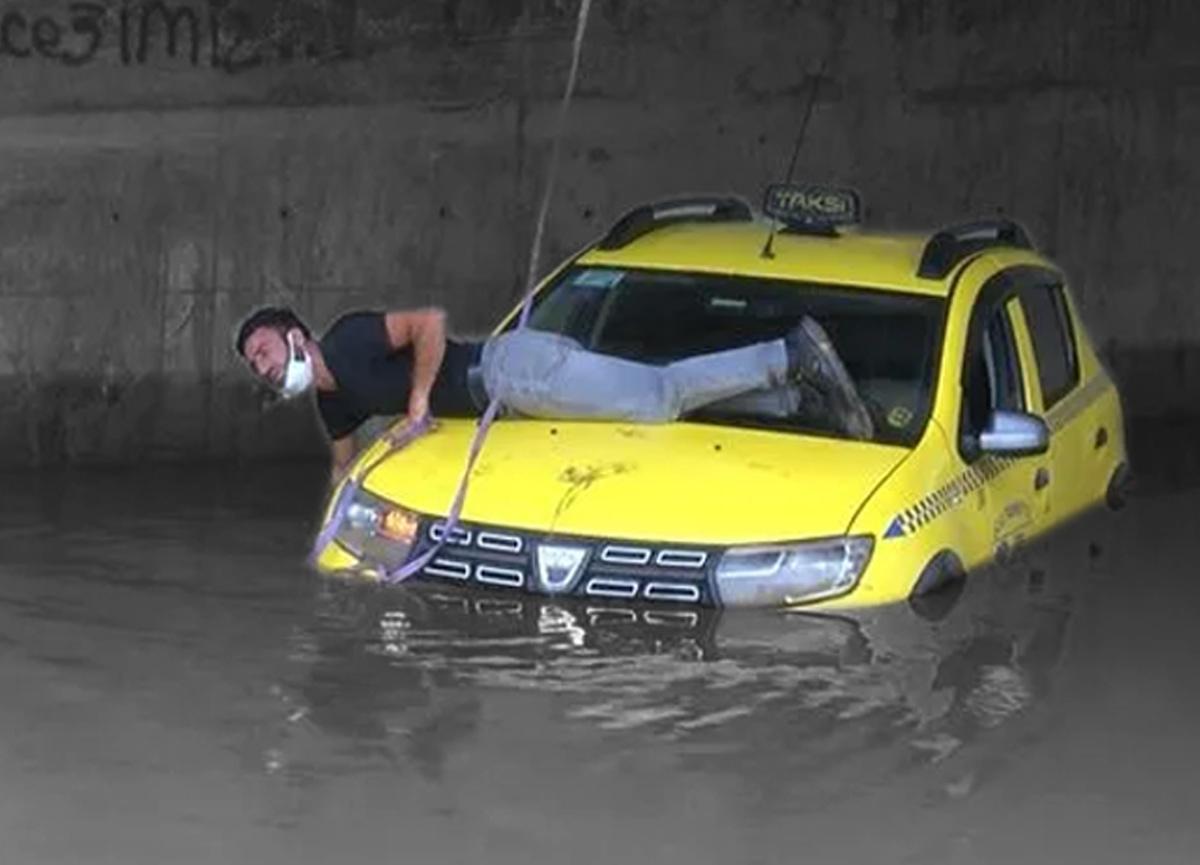 Alt geçitte mahsur kalan taksi sürücüsü böyle kurtarılmayı bekledi