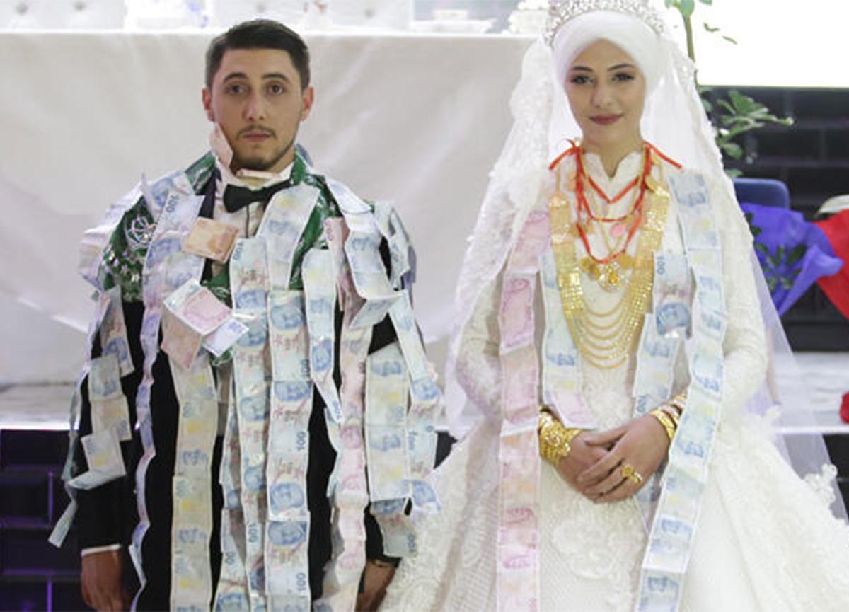 1 saatlik düğünde 1 milyon liralık takı takıldı!