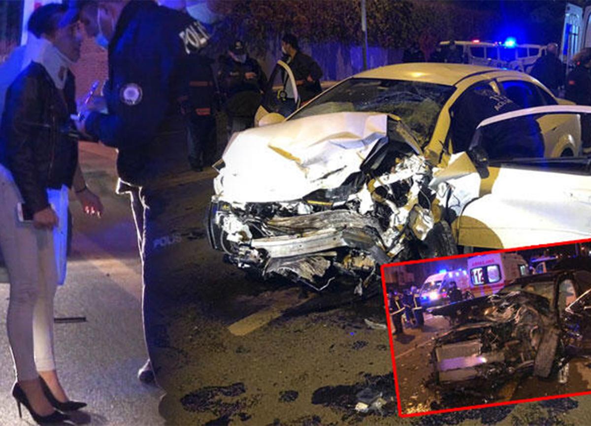 Ankara'da 2 araç kafa kafaya çarpıştı! 5 yaralı var!