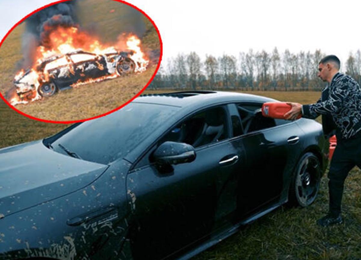 Rus sosyal medya fenomeni Mihail Litvin, lüks aracını ateşe verip karşısında mangal yaptı