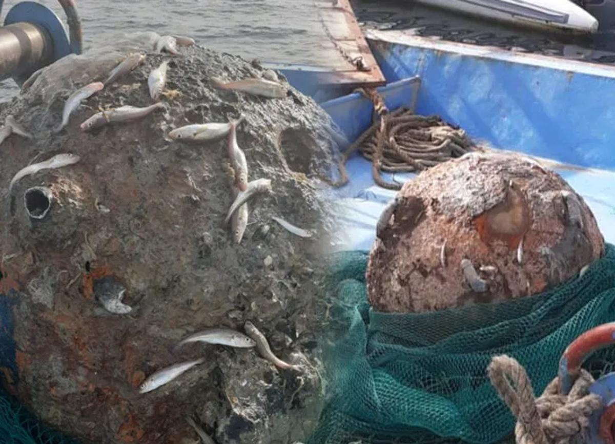 İstanbul Boğazı'nda balıkçıların ağına takılan mayın büyük paniğe yol açtı
